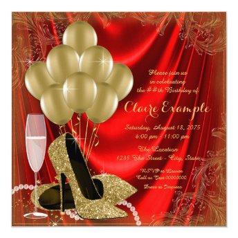 Womans Red and Gold Birthday Party Satin Glitter