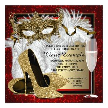 Womans Red and Gold Masquerade Birthday Party Invitation