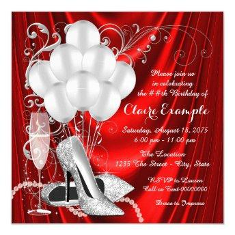 Womans Red and Silver Birthday Party Luxe