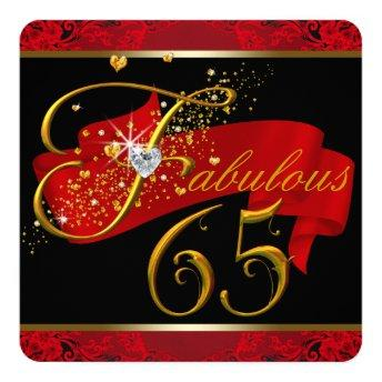 Womans Red Fabulous 65th Birthday Party Invitation