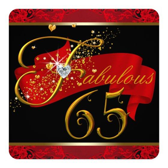 240 Womans Red Fabulous 65th Birthday Party Invitation