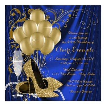 Womans Royal Blue and Gold Birthday Party Luxe