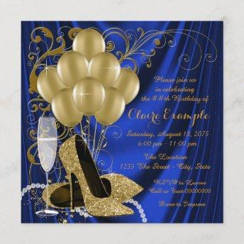 Womans Royal Blue and Gold Birthday Party Luxe Invitation