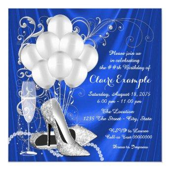 Womans Royal Blue and Silver Birthday Party