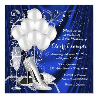 Womans Royal Blue and Silver Birthday Party Luxe