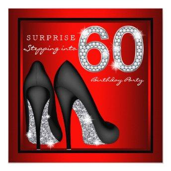 Womans Surprise 60th Birthday Party Red and Silver Invitation
