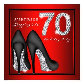 Womans Surprise 70th Birthday Party Red and Silver Invitation