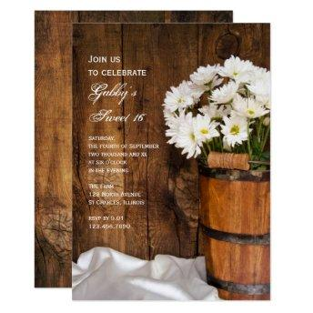 Wood Bucket White Daisies Sweet 16 Birthday Party Invitation