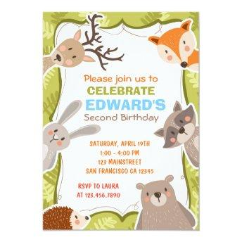 Woodland Animals Forest Birthday Party Invition