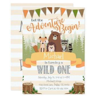 Woodland Birthday Party Invitation Invite Natural