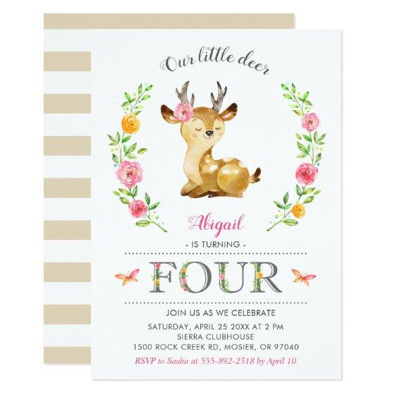 201 Woodland Deer Girl Floral 4th Fourth Birthday Invitation