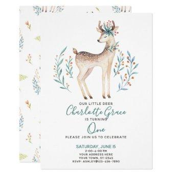 Woodland Forest Deer Baby's First 1st Birthday Invitation