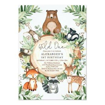 Woodland Wild One Rustic Greenery Animals Birthday Invitation