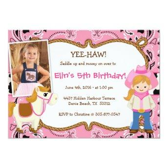YEE-HAW! Cowgirl Themed Birthday Party Invitation