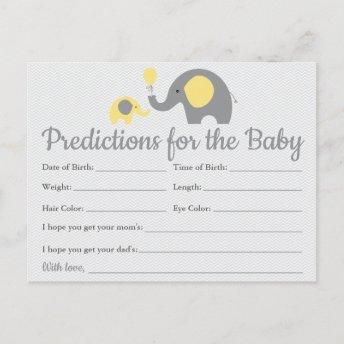 Yellow Elephant Baby Predictions Invitation Baby Shower