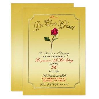 Yellow Gold Red Rose Beauty Birthday Party