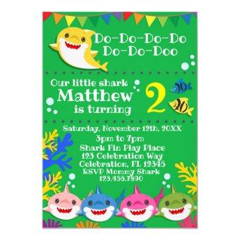 Yellow Kids Shark Green Birthday Invitation