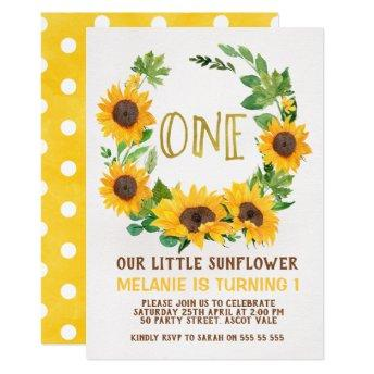 Yellow Sunflower Wreath 1st Birthday Invitation