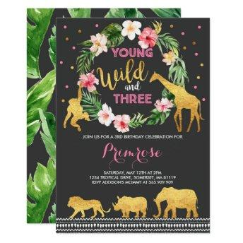 Young Wild And Three Birthday Invitation Jungle