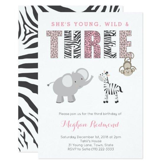 248 Young Wild And THREE Girl Zoo 3rd Birthday Party Invitation
