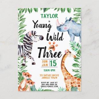 Young Wild and Three Safari Animal 3rd Birthday Invitation PostInvitation