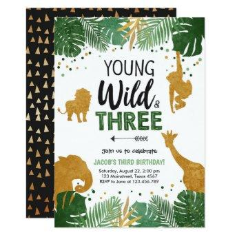 Young Wild and Three Safari Animals Boy Birthday Invitation
