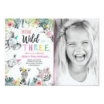 Young Wild and Three Safari Animals Girl Birthday Invitation