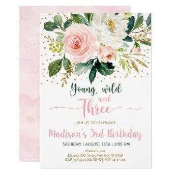 Wild And Three Birthday Invitation Birthday Party Invitations Birthday Party Invitations