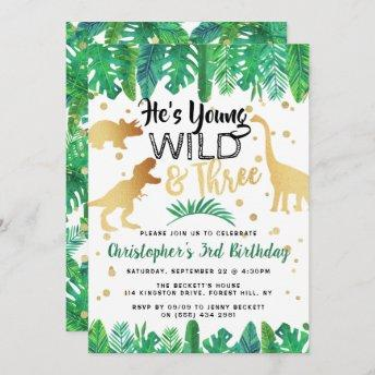 Young Wild & Three Dinosaur Boys 3rd Birthday Invitation