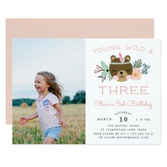 Young, Wild & Three | Photo Birthday Party Invite