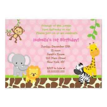 Zoo Jungle Safari Birthday Party Invitation Girl